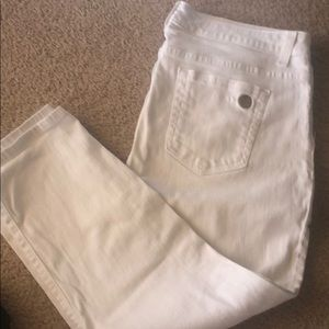 Michael Kora white crop jeans
